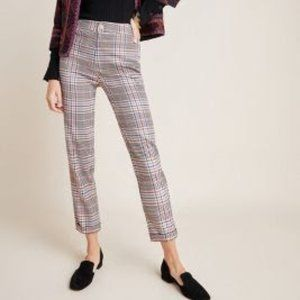 Anthropologie Malcom Plaid Tapered Ankle Pants